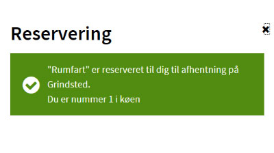 popup ved reservering